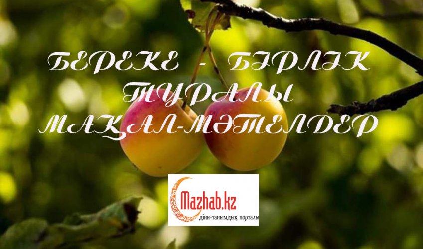 БЕРЕКЕ - БІРЛІК ТУРАЛЫ МАҚАЛ-МӘТЕЛДЕР